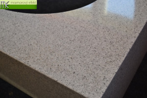Granite Pewter in real on our countertop with integrated washbasin