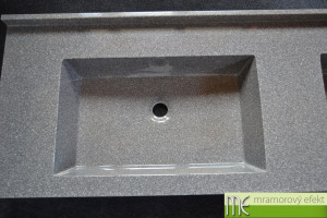 Granite SLATE in real on our countertop with integrated washbasin