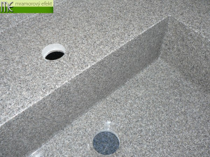Granite TWEED in real on our countertop with integrated washbasin