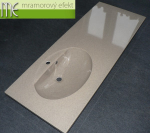 Granite BUTTERSCOTCH in real on our countertop with integrated washbasin