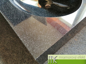 Granite OBSIDIAN in real on our countertop with integrated washbasin