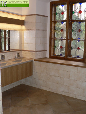 State chateau Sychrov_custom-made countertops with integrated washbasins | granite surface Butterscotch