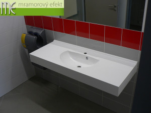 Brno Waterworks and Sewerage, a.s._Brno - Pisarky, countertops Flexible47 with oval integrated washbasins FJORD50